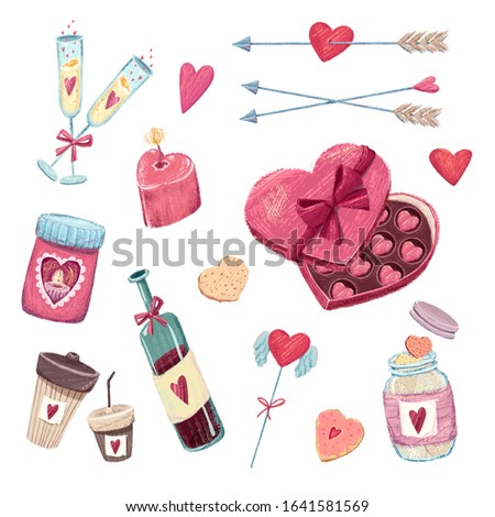Lovely Valentine's Day set of clip arts included glasses of champagne, heart shaped box of chocolate, hearts-cookies, love candles, wine bootle, coffee cups, heart stick, shooting heart and arrows.