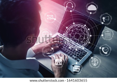 Omni channel technology of online retail business. Multichannel marketing on social media network platform offer service of internet payment channel, online retail shopping and omni digital app. Royalty-Free Stock Photo #1641603655