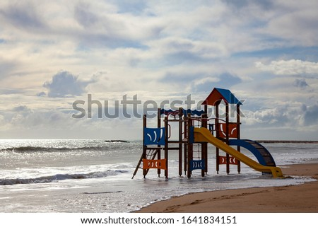 Playground by the sea. Playground in the water. Vacation Vacation. Family vacation. Playground on the beach. #1641834151