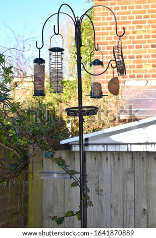 Wild bird feeding station with hanging nut seed and fat ball feeders garden water bath table meal worm tray and hanger for high energy insect suet cake Metal pole with pointed end pushed into the soil #1641870889