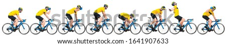 professional bicycle road racing cyclist racer set collection in yellow jersey on light weight blue carbon race cycle in various poses position and gestures isolated on wide white panorama background Royalty-Free Stock Photo #1641907633