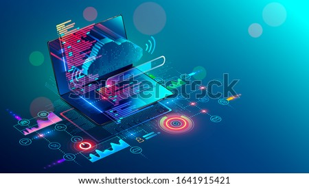 Laptop with code on screen hanging over icons programming app, software development, web coding. Isometric conceptual illustration about collaboration work via internet or cloud storage. Remote work.