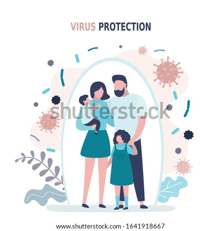 Happy parents with children is protected from viruses and diseases. Good immunity, vaccination and a healthy lifestyle. Family portrait in trendy style. Flat vector illustration #1641918667