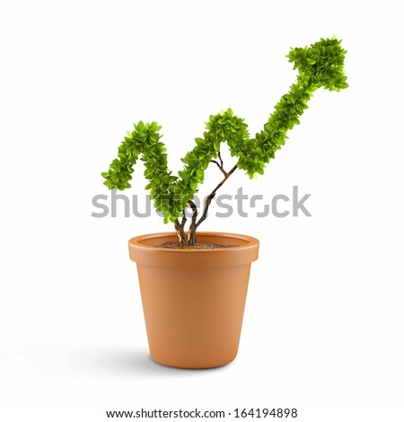 Plant in pot shaped like graph. Wealth concept #164194898