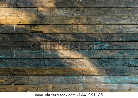 Colorful weathered wooden wall background with dappled light #1641961165