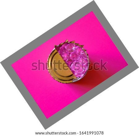 Pink hearts inside a tin can on fuchsia color background. Concept: closed feelings. Fake feelings. Broken heart. #1641991078