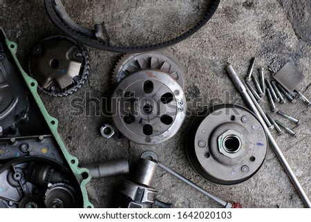 Mechanic to repair or check the motorcycle belt system, the engine belt system of the engine #1642020103