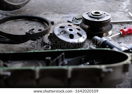 Mechanic to repair or check the motorcycle belt system, the engine belt system of the engine #1642020109
