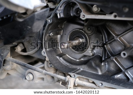 Mechanic to repair or check the motorcycle belt system, the engine belt system of the engine #1642020112