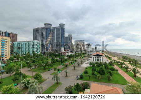 Top view of the promenade and bike path in Batumi. Georgia is a country at the junction of Europe and Asia and attracts many tourists from all over the world. The concept of a tourist site. #1642120726