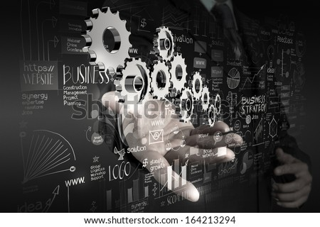 businessman hand working with new modern computer and business strategy gear to success as concept