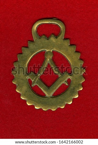 Brass ornament with symbols of Freemasonry #1642166002