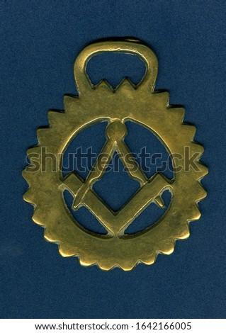 Brass ornament with symbols of Freemasonry #1642166005