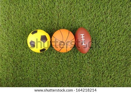balls on green grass background #164218214