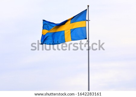 Sweden national flag on flagpole waving in the wind.  Blue-yellow flag of Sweden on blue sky background, selective focus. Stockholm state symbol.  #1642283161