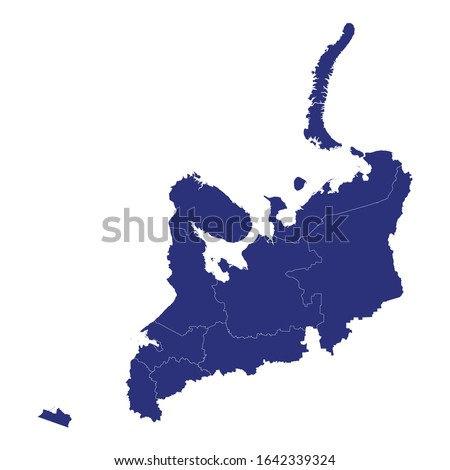 High Quality map of Northwestern Federal District of Russia with borders of the regions Royalty-Free Stock Photo #1642339324
