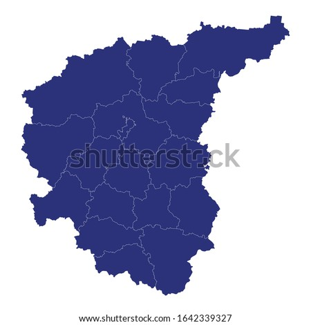 High Quality map of Central Federal District of Russia with borders of the regions Royalty-Free Stock Photo #1642339327