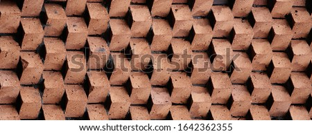 Panoramic background of wide old red brick wall texture. Home or office design backdrop. Royalty-Free Stock Photo #1642362355