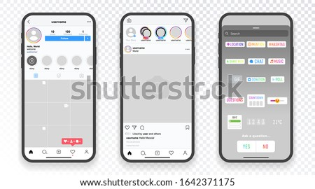 Stories stickers screen interface in social media instagram application. Templates stories, hashtag, polls, emoji slider, countdown. Photo frame design app post template. Vector mock up illustration #1642371175