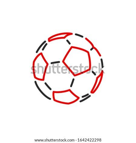 Thin contour lines icon soccer ball for playing football isolated on white background. Modern design minimalistic style black and red outline sign classic leather soccer ball.