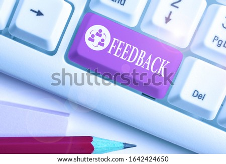 Handwriting text Feedback. Concept meaning information about reactions to product demonstratings perforanalysisce of task. #1642424650
