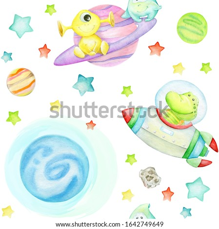 Alligator on a rocket, aliens on Saturn, planets and stars, on an isolated background. Watercolor seamless pattern, on the theme of space travel.