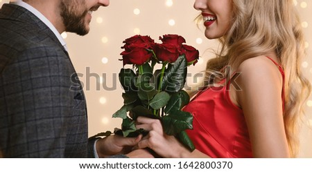 Flowers For You. Romantic Man Surprising His Happy Girfriend With Roses Bouquet, Greeting With Valentine's Day, Cropped Image, Panorama