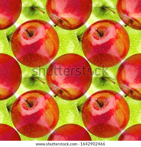Seamless pattern green and red apples, abstract colorful apple repeating ornament, bright artistic fruits backdrop, art fruity translucent texture, fantasy summer vibrant wallpaper, trendy vivid print