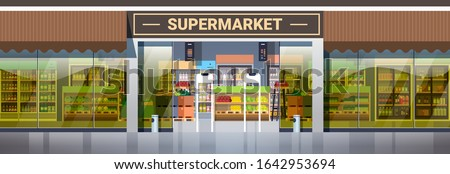 modern supermarket retail store with assortment of groceries grocery shop exterior horizontal vector illustration Royalty-Free Stock Photo #1642953694