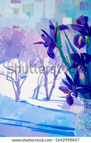 Painting the artist's canvas. still life. Beckett of irises flowers on the windowsill, choosing this photo that you made the right choice, your design will be successful, #1642998847