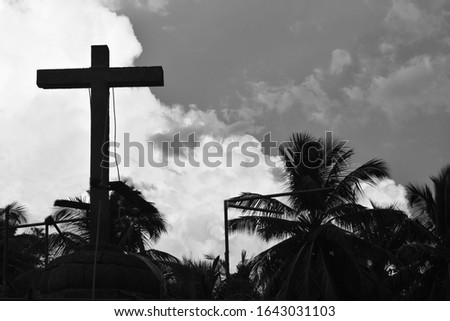 Black and White image of Lord Jesus Cross in Goa