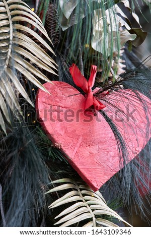 Valentines day card - heart made of wood. Royalty-Free Stock Photo #1643109346