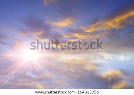Sunset / sunrise with clouds, light rays and other atmospheric effect #164313956