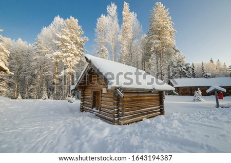 """Wooden small barn in the museum of wooden architecture """"Small Korely"""". Russia, Arkhangelsk region #1643194387"""