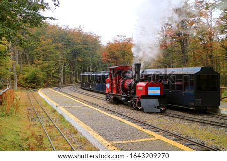 Southern Fuegian Railway or TRAIN OF THE END OF THE WORLD at Tierra del Fuego National Park, Patagonia, Argentina Royalty-Free Stock Photo #1643209270