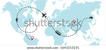 World map whit dashed trace line and airplanes flying, bus driving, and car. Travel concept. Clip-art illustration.