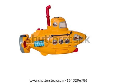 Toy yellow submarine on a white background