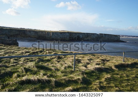 Scenic view of overgrown grass leading to fencing with cliffs on the other side of the water on a windy day. #1643325097