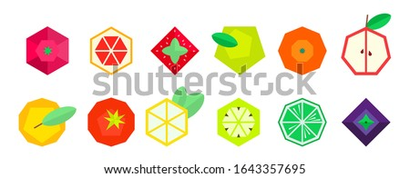 Fruits and berries in geometric style. Vector illustration. Polygonal fruits. Raspberry grapefruit strawberry Apple orange pear tomato lemon kiwi lime blueberry BlackBerry. Collection of fruits #1643357695