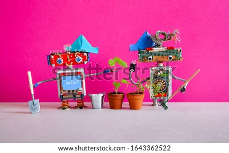 Robotics automation gardening concept. Two happy domestic gardener robots stand next to flower pots with young plants. Pink gray background #1643362522