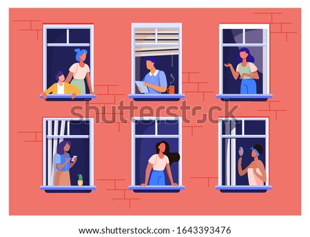 Apartment building with people in open window spaces. Neighbors drinking coffee, talking, using cell. Vector illustration for block of flat, condo, neighborhood, community, house friendship concept #1643393476