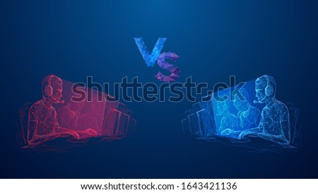 Two team of cyber sport. Abstract banner template for eSport competition. Red tram VS blue team. Versus cyber sports. Low poly wireframe digital concept. Technology innovation vector illustration. #1643421136