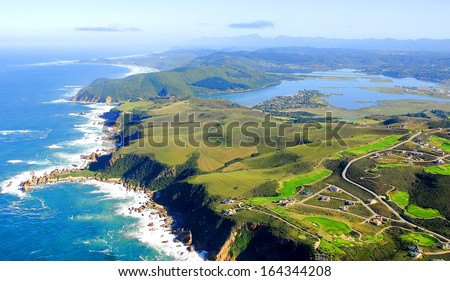Aerial Shot of Knysna in the Garden Route, South Africa Royalty-Free Stock Photo #164344208