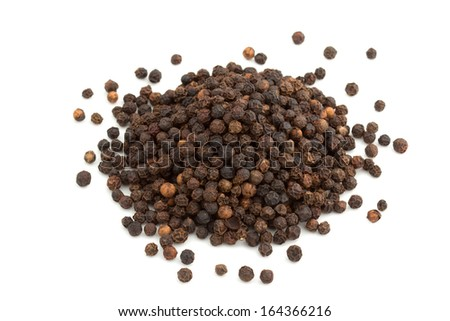 heap of black peppercorns isolated on white background #164366216