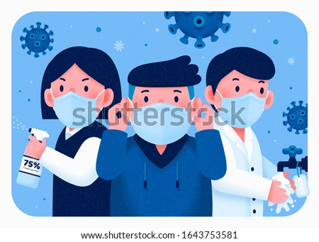 People fight for health with wearing face mask, washing hands and using sanitizer, COVID-19 illustration #1643753581