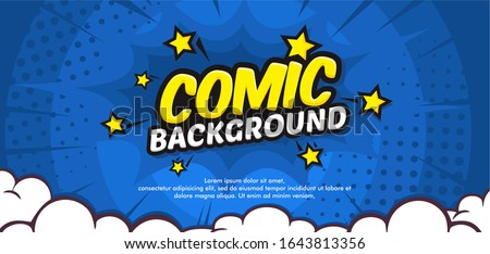 Pop art comic background with cloud and star. Cartoon Vector Illustration on blue Royalty-Free Stock Photo #1643813356