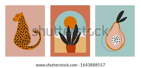 Digital art illustrations with cheetah, leopard, planr and sun, nature and fruit. Minimalist line art with simple colors. Modern posters for wall art, prints, cards. Vector graphics #1643888557
