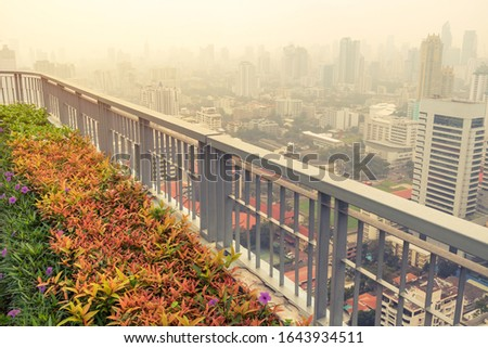 bush and fence in garden on rooftop of high-rise building in poor weather, haze of pollution covers city, global warming concept #1643934511