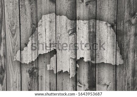 Detailed and colorful image of map of Rio Grande do Norte on weathered wood #1643953687