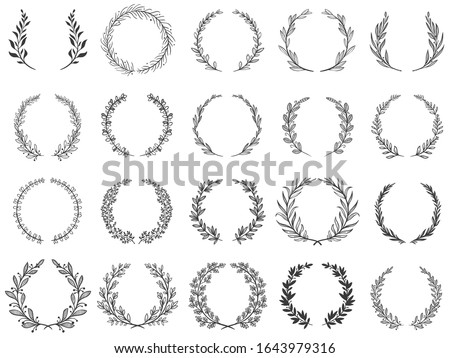 Ornamental branch wreathes. Laurel leafs wreath, olive branches and round floral ornament frames vector set. Bundle of victory or triumph symbols, natural decorative design elements with bay foliage. Royalty-Free Stock Photo #1643979316
